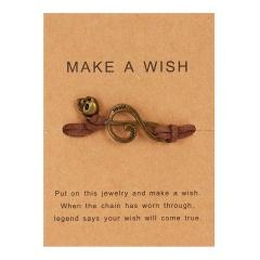 Handmade Musical Note Skull Woven Paper Card Bracelet Brown