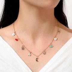 Lip Eye Devil Eye Key Lock Moon Snowflake Love Star Geometric Clavicle Chain Pendant Necklace Golden