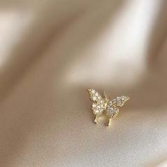 Silver single double butterfly earrings ER20Y0052-1