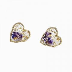 Golden Heart with Purple Stone Metal Stud Earrings Heart