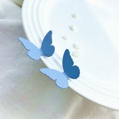 Simple Small Metal Alloy Butterfly Stud Earrings Blue