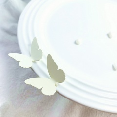Simple Small Metal Alloy Butterfly Stud Earrings White