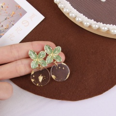 Small fresh earrings and earrings with gold-plated green leaves ER20Y0228