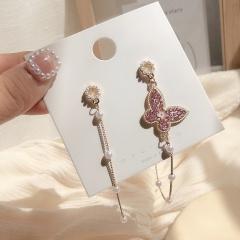 Long Tassel Butterfly Asymmetric Metal Earrings Butterfly