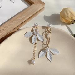 Leather Leaf Chain Tassel Dangle Long Earrings Wholesale Leaf