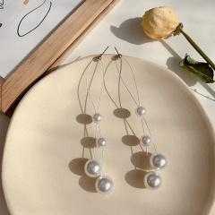 Simple Gray Pearl Long Dangle Earrings Jewelry Pearl