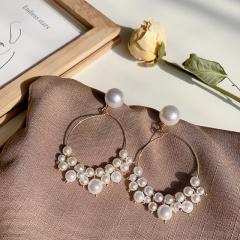 Pearl Golden Circle Dangle Stud Earrings Circle