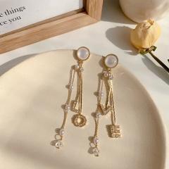 Golden Metal LOVE Long Tassel Dangle Earring Wholesale LOVE