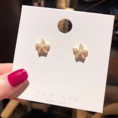 Golden Metal Alloy Pearl Small Stud Earrings Wholesale Star