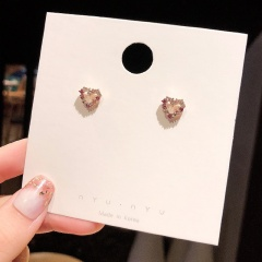 Fashion Korean Small Stud Alloy Rhinestone Earrings Jewelry Wholesale Heart