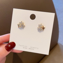 Fashion Gold Pearl Rhinestone Stud Earrings Wholesale Star