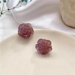 Purple Flower Grape Butterfly Geometric Purple Series Earrings 340