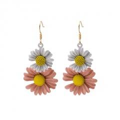 Double Daisy Petal Ear Hook Ear Nail Earrings White-Pink