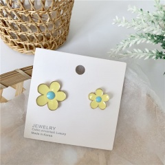 Colored Florets Asymmetrical Studs Clip Earrings Yellow earrings