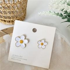 Colored Florets Asymmetrical Studs Clip Earrings White earrings