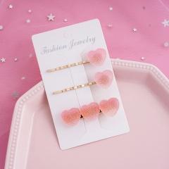 Rainbow Fudge Gradient Purple Love Hair Clip Three-piece Set Pink