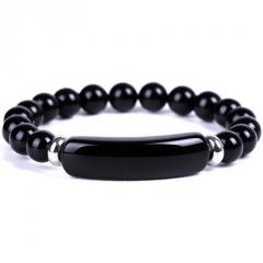 Beaded Elastic Bracelet Black Agate