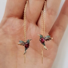Bird Hummingbird Ear Line Earrings Red