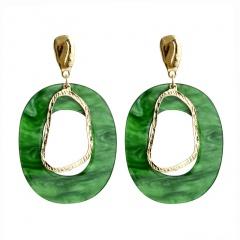 Boho Round Acrylic Drop Dangle Earrings Resin Irregular Ear Stud Women Jewelry green