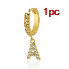 Fashion Zirconia A-Z Letters Alphabet Gold Earrings Stud Dangle Hoop Women 1PC A