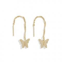 1 Pair Butterfly Series Alloy Stud Dangle Chain Earrings Gold-Dangle