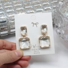 Square Crystal Dangle Elegant Earrings Wholesale White