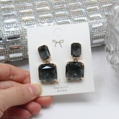 Square Crystal Dangle Elegant Earrings Wholesale Black