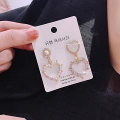 Fashion Crystal Pearl Heart Women Earrings 1