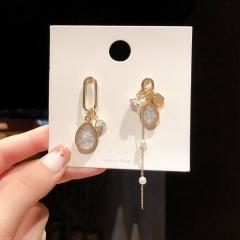 Long Asymmetrical Stud Earrings Golden