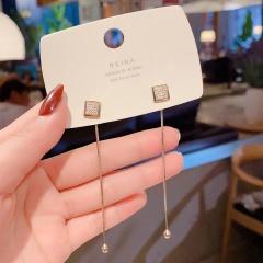 Long Tassel Stud Earrings Drop Earrings Square