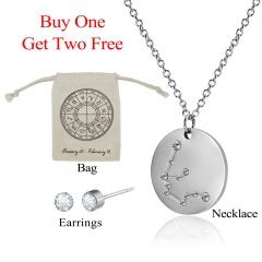 12 Constellations Pendant Necklace Stainless Steel Choker Zodiac Jewelry Set Aquarius水瓶座
