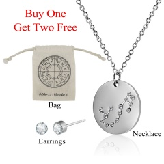 12 Constellations Pendant Necklace Stainless Steel Choker Zodiac Jewelry Set Scorpio天蝎座