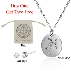 12 Constellations Pendant Necklace Stainless Steel Choker Zodiac Jewelry Set Sagittarius射手座