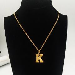 English letter pendant necklace K