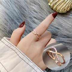Open Adjustable Rhinestone Ring Golden