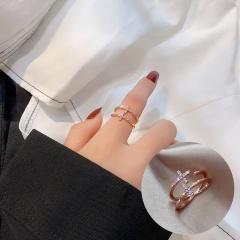 Open Adjustable Rhinestone Ring J098 Rose gold