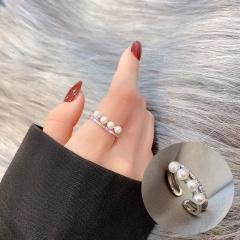 Open Adjustable Rhinestone Ring J105 Silver