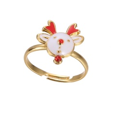 Fashion Women Cute Crystal Pearl Finger Adjustable Ring Jewelry Party Christmas Elk
