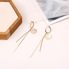 Shell fringed long clip earrings Ear clip