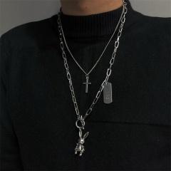 Cross can move rabbit pendant double necklace sweater chain The rabbit pendant