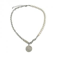 Titanium steel round collar collarbone chain chain necklace titanium steel
