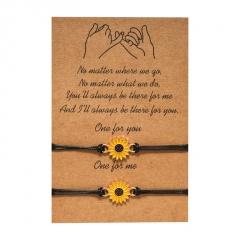 Sunflower 2 weaving adjustable couples paper card bracelet set Sunflower