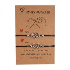 8 character love 2 weaving adjustable lovers paper card bracelet set Love