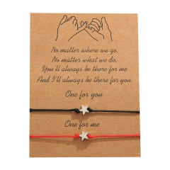Pentacle 2 sets of weaving adjustable lovers' paper card bracelet Five-pointed star