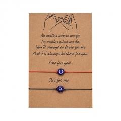 2 Pcs/set Handmade Rope Couple Blue Eyes Bracelet Set Wholesale 2 pcs