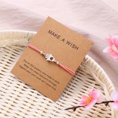 Paper card hand heart knitting adjustable bracelet Pink