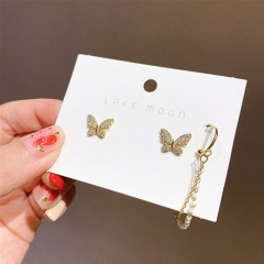 Diamond pearl butterfly stud earrings Butterfly