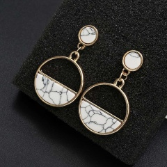 Gold Stone Circle Dangle Stud Earring Wholesale White