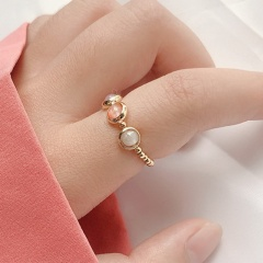 Stone to run three - color stone beads round beads ring Three - color
