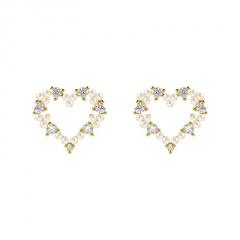 Korean Fashion Alloy Gold Pearl Stud Earrings Wholesale Heart